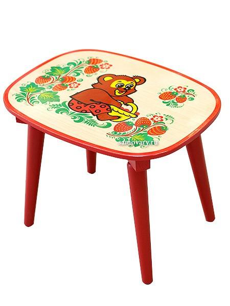 Детская скамейка с художественной росписью Хохлома