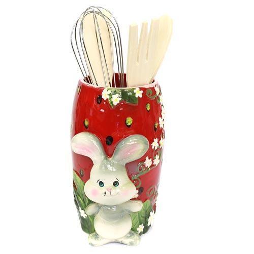 Подставка для кухонных принадлежностей Кролик на клубнике