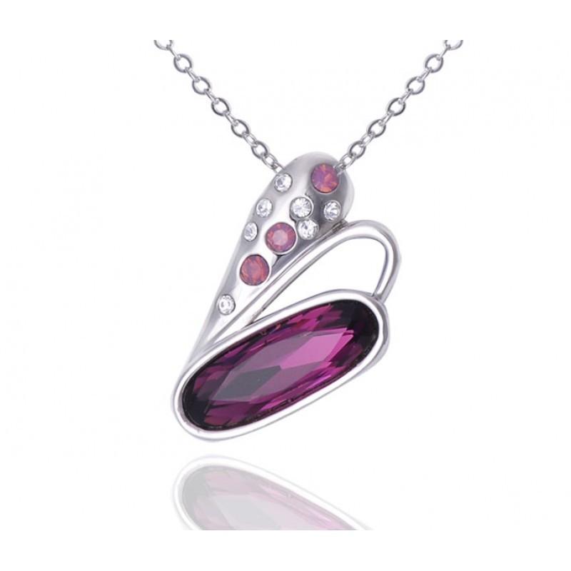 Кулон с кристаллами Сваровски цвета бордо «Взмах крыла»