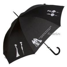 Черный женский зонт с белыми силуэтами Emme LA Coco Nero