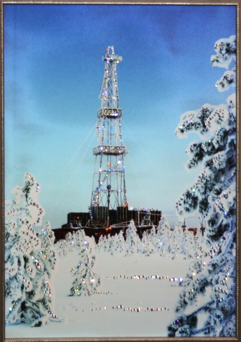Картина с кристаллами Сваровски Нефтяная вышка