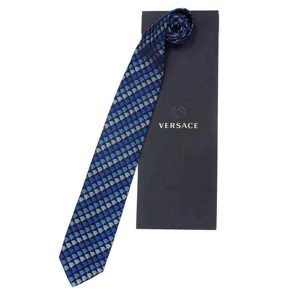 Модный синйи галстук в горгонах Versace