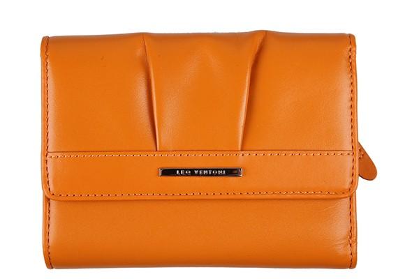 Оранжевый кожаный кошелёк из натуральной кожи Leo Ventoni