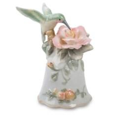 Большой фарфоровый колокольчик Колибри на цветке Pavone