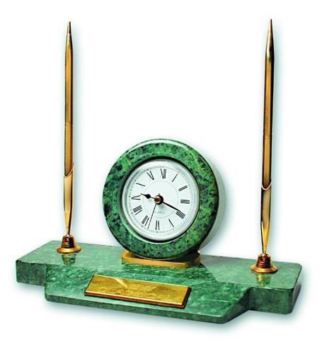 Настольный набор: часы, две ручки (зеленый мрамор)