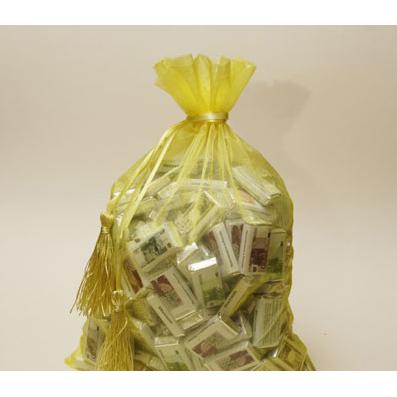 Мешок с шоколадными деньгами жёлтый