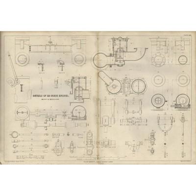 Гравюра «Детали 120 сильного двигателя»