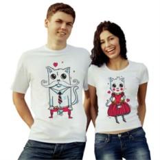 Парные футболки Кот и кошка