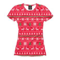 Красная женская футболка Олени и елки