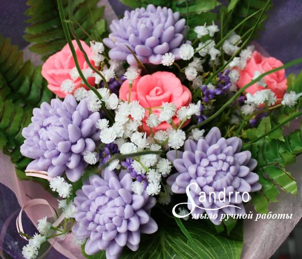 Цветы из мыла «Розы с хризантемами»