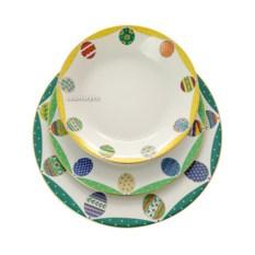 Комплект тарелок, форма Европейская, рисунок Пасхальная трапеза.Изумруд, Императорский фарфоровый завод