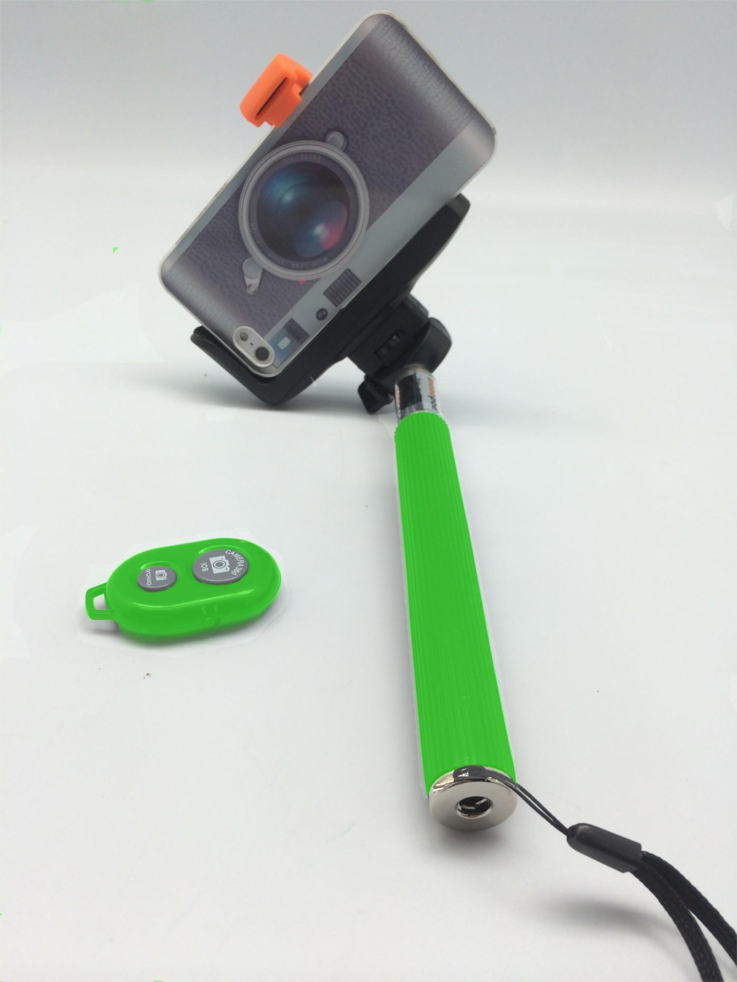 Зеленый монопод для селфи с пультом
