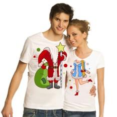 Новогодние парные футболки Дед мороз и Снегурочка