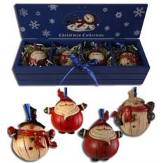 Набор елочных украшений в деревянной коробке