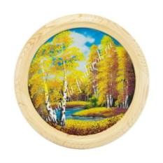 Панно на тарелке диаметром 40 см Осенний пейзаж