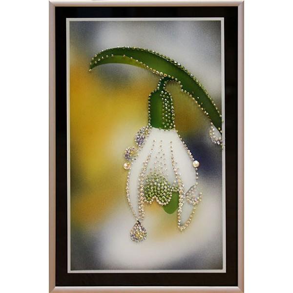 Картина с кристаллами Swarovski Подснежник