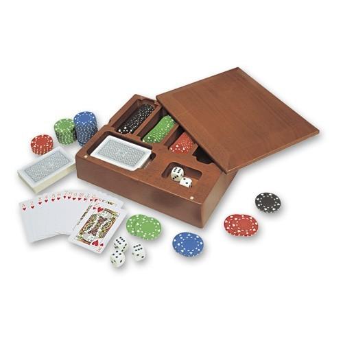 Набор для покера в деревянной коробке, 23х18х6 см (100 фишек)