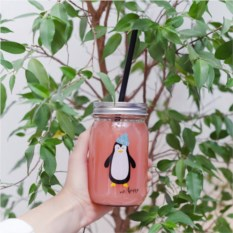Банка для напитков с крышкой Happy Пингвин