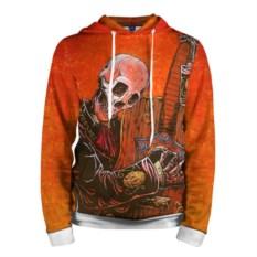 Мужская оранжевая толстовка Скелет с гитарой