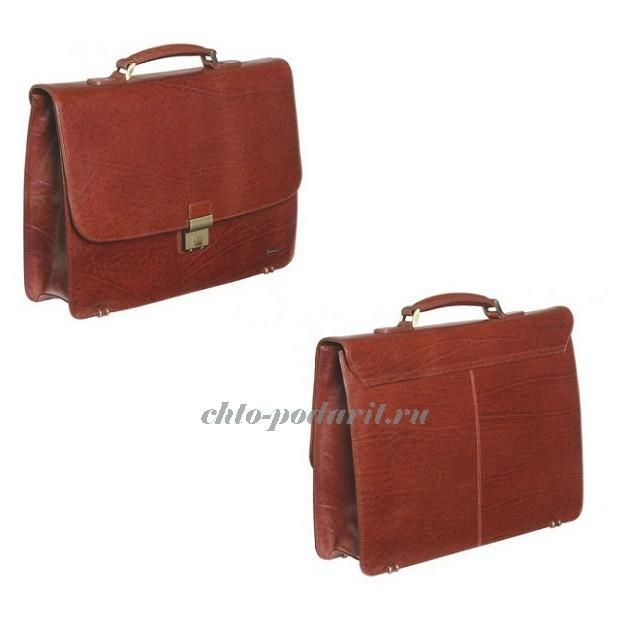 Кожаный портфель Diplomat коньячного цвета