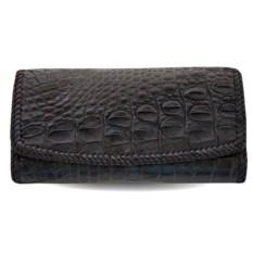 Черный кожаный кошелек из крокодила