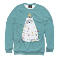 Мужской свитшот Cute christmas cat