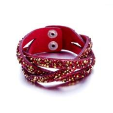 Замшевый красный браслет «Коса»