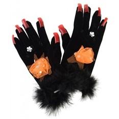 Маскарадные перчатки для взрослых Черная леди