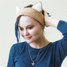 Вязаная повязка на голову Бежевый котик