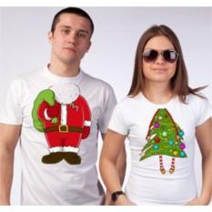 Футболки для двоих Дед Мороз и елочка