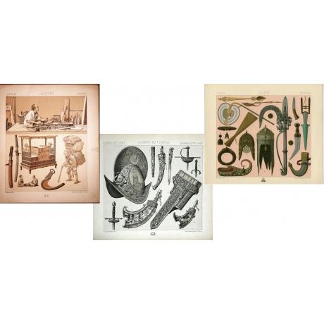 Редкие антикварные гравюры «Оружие»