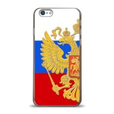 Пластиковый чехол для Apple iPhone 6 Флаг и герб РФ