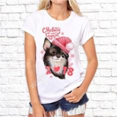 Женская футболка Собачка в розовой шапке