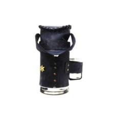 Пивная кружка в синем кожаном чехле Шериф