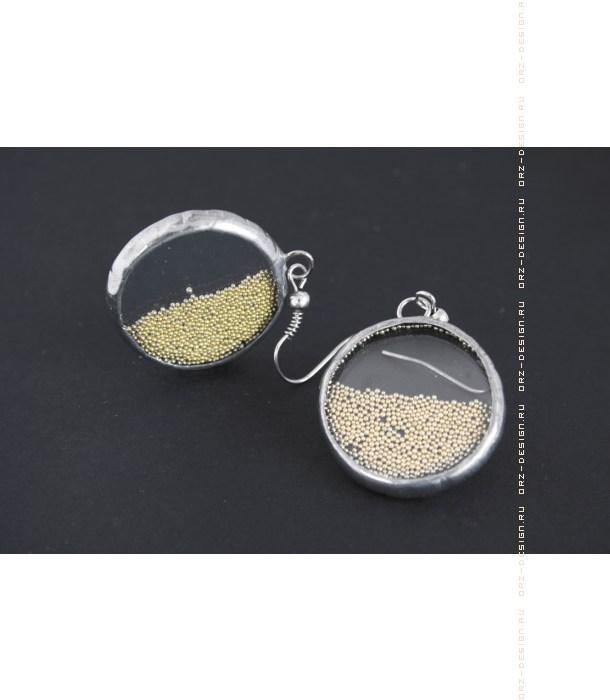 Серьги круглые Микробисер (золотой)