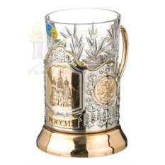 Позолоченный подстаканник и стакан Храм Василия Блаженного