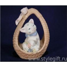 Статуэтка Кошка в корзине