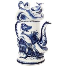 Заварочный керамический чайник с росписью гжель Дом