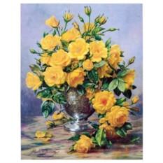 Картина-раскраска по номерам на холсте Жёлтые розы