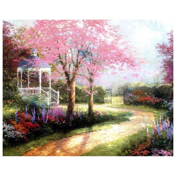 Картина-раскраска по номерам на холсте Беседка