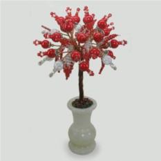 Дерево из коралла и горного хрусталя Красное и белое
