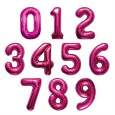Фольгированные цифры с гелием (цвет — розовый)