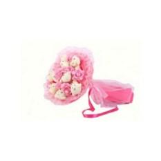 Букет из мягких игрушек Медвежата и розы