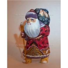 Игрушка из дерева Дед Мороз с мешком, высота 17 см