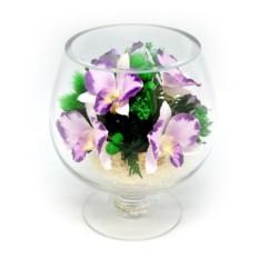 Композиция из натуральных орхидей в стекле