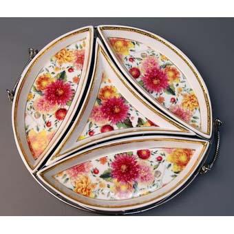 Менажница 4-х секционная на металле «Цветы»