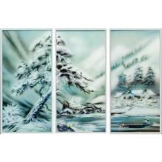 Картина-триптих с кристаллами Swarovski Отдых в горах