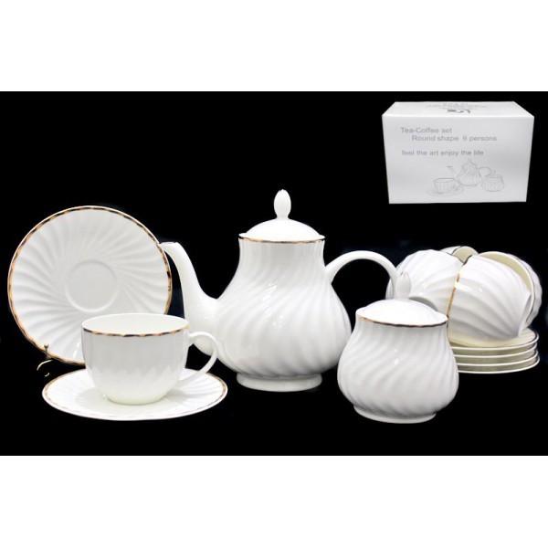 Фарфоровый чайный сервиз из 16 предметов Белое гофре