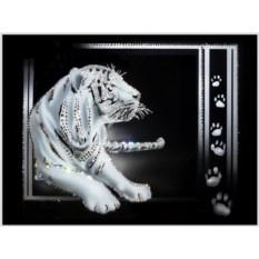 Картина с кристаллами Swarovski По следам тигра