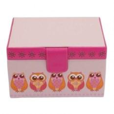 Розовая квадратная шкатулка для украшений Совы Champ